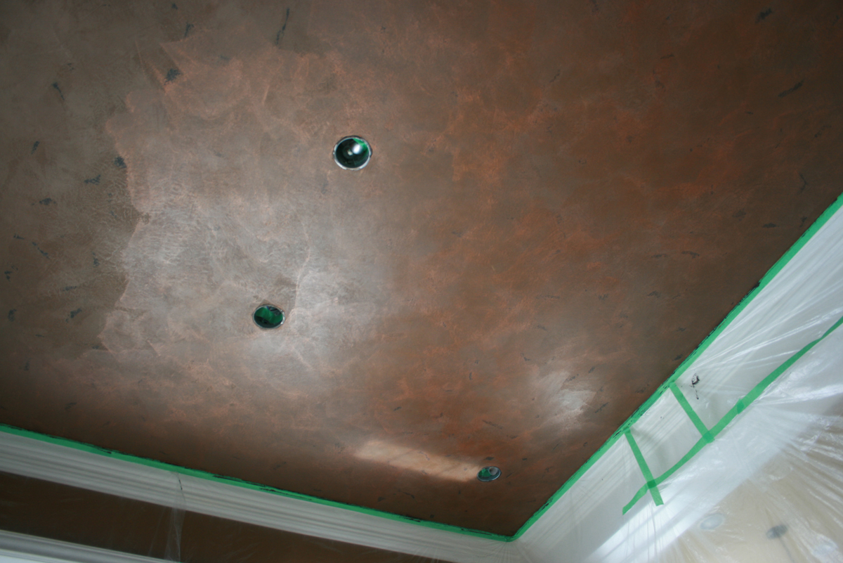 Metallic Bronze Copper Distressed Ceiling Decorative Painting Plastering Concepts